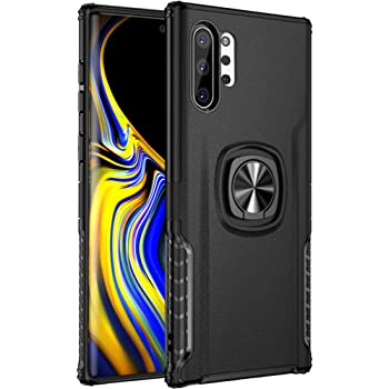 Umiko Protective Slim Fit Case with 360 Degree Rotation Hidden Finger Ring Grip Holder Kickstand Work with Magnetic Car Mount for Galaxy Note 10+ 5G Blue Galaxy Note 10 Plus 5G Magnetic Case
