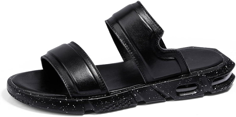 LQV Men's Sandals for Summer Flat Leather Casual Beach shoes Cushioned Air Cushion Word Flip Flops