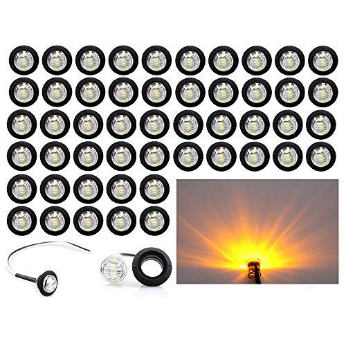 (Pack of 50) Madcatz Amber Light (Clear Lens) 3/4' inch Bullet Side Led Marker Trailer Lights Indicator 12V DC