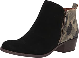 Lucky Brand Women's Basel Ankle Boot, Black/Camo, 9