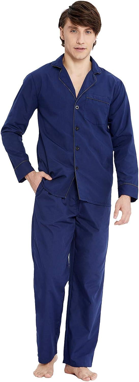PIZZ ANNU Mens Plain-Weave Pajama Set Long Sleeve Lightweight Cotton Sleepwear Loungewear