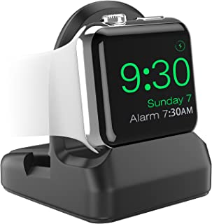 MoKo Compatible with iWatch Stand, TPU Charging Station Dock Support Nightstand Mode, Fit iWatch Series 5(40mm/44mm),iWatch Series 4 2018/3/2/1,44mm/40mm/42mm/38mm - Black