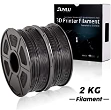 PLA+ Filament 3D Printer Filament,2kg Spool (4.4 lbs) 1.75mm,Dimensional Accuracy +/- 0.02 mm, 2 Packs of Black by SUNLU