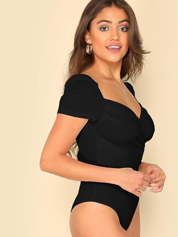 Milumia Women's Elegant Wrap Sweetheart Neck Puff Sleeve Backless Bodysuit Top