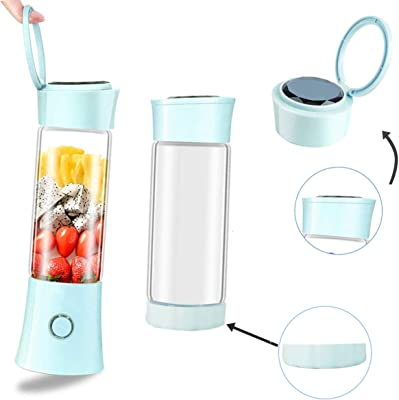 Portable Personal Blender, Household Juicer fruit shake Mixer -Six Blades, BPA Free 480ml Baby cooking machine with USB Charger Cable (blue)