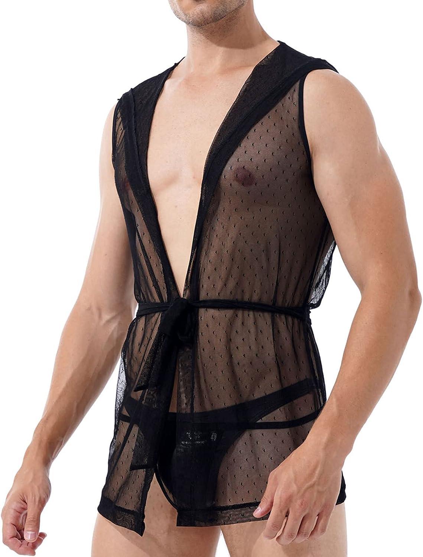 Oyolan Men's Sexy Hooded Sleeveless Robes Bathrobes Mesh See-Through Lingerie Pajamas with G-string
