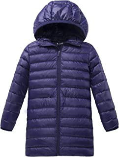 Girl's Long Lightweight Hood Down Jacket Packable Winter Coat