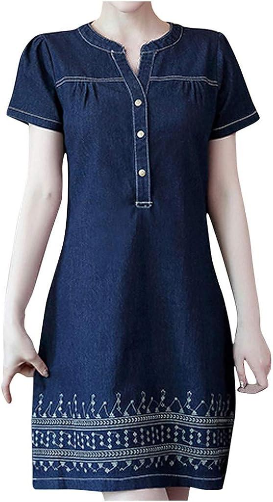 iQKA Women Summer Denim Mini Dress Plus Size Tank Dress Loose O-Neck Short Sleeve Knee Length Dress Vestidos