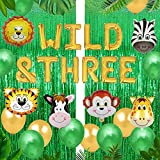 Geloar Young Wild and Three Birthday Decorations, Wild & Three Balloons Banner for Animal Safari Zoo Jungle Themed Baby Girl Boy 3rd Third Birthday Bday Party Supplies Decor (Gold, Wild & Three)