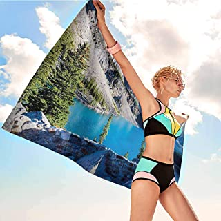 Bathroom Towel Nature,Moraine Lake Banff National Park Canada Mountains Pines Valley of the Ten Peaks,Blue Green Grey,Bath Towel Great for Beach Trips,Pool,Swimming and Camping 20