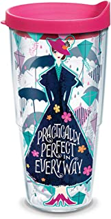 Tervis 1308583 Disney - Mary Poppins Returns Insulated Tumbler with Wrap and Fuschia Lid, 24oz, Clear