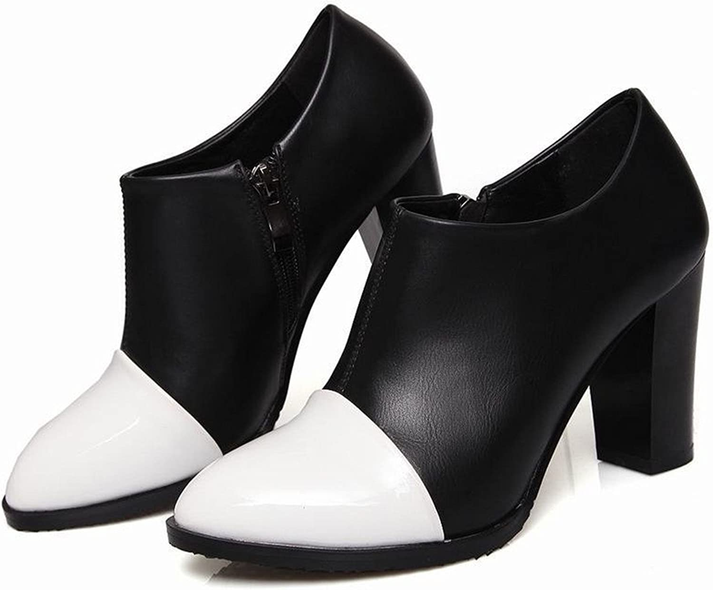 Tirahse Sweet Women's Zip Pointed Toe Fashion High Chunky Heel Dress Ankle Boots