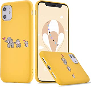 LuGeKe Cute Cartoon Elephant Family Print Phone Case for iPhone 6 Plus/6S Plus Silicone Cases Lovely Elephant Flag Pattern Cover Shock Absorption Flexible Yellow Skin Frame