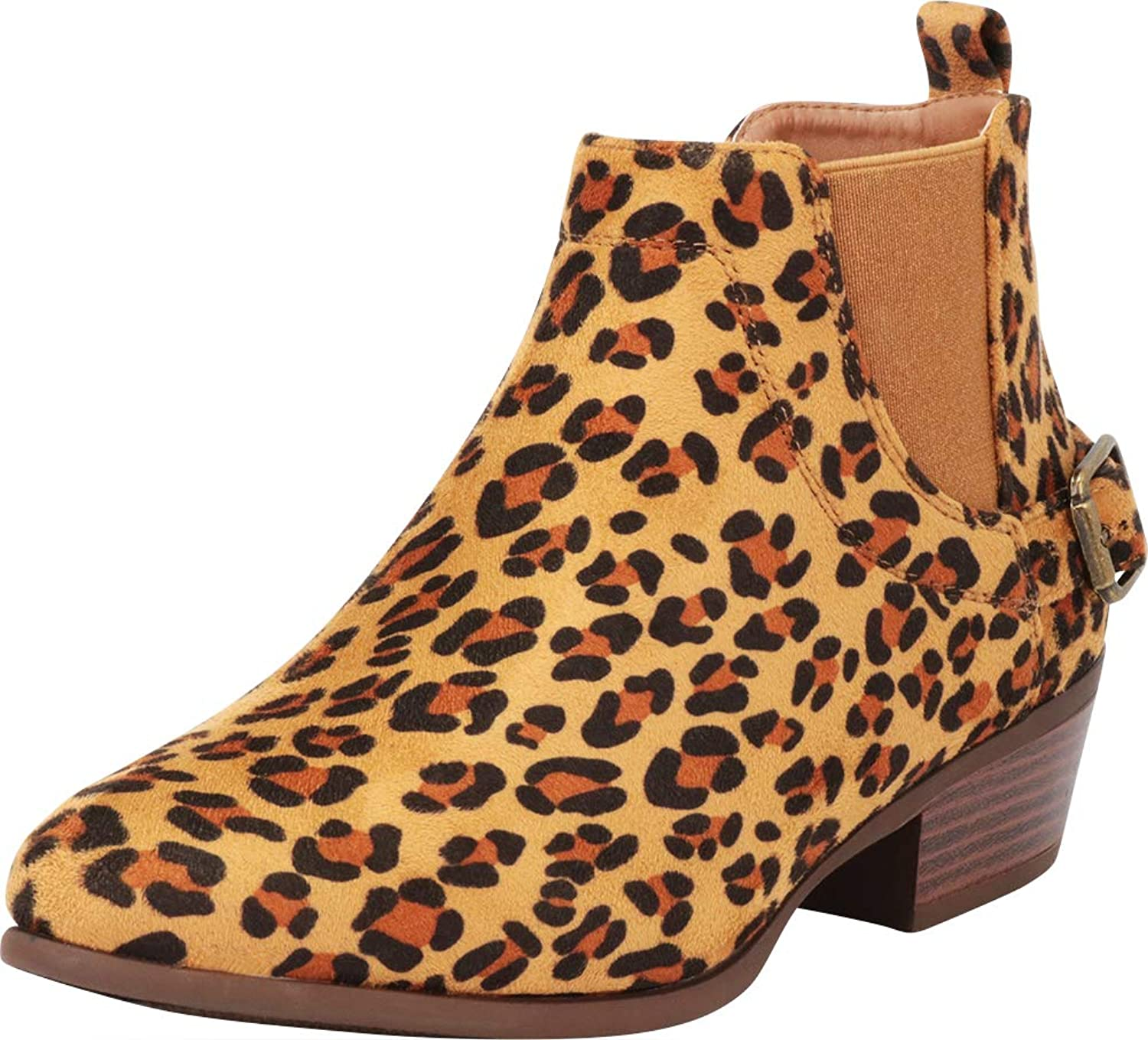 Cambridge Select Women's Chelsea Stretch Buckle Chunky Stacked Heel Ankle Bootie