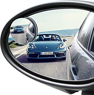 POMFW Blind Spot Mirror, Rearview Convex Side Mirrors for Cars SUV Truck Van Stick on 3M Adhesive, Rear View HD Glass Frameless Sway Rotate adjustable Wide Angle, 2 inch round 2pcs