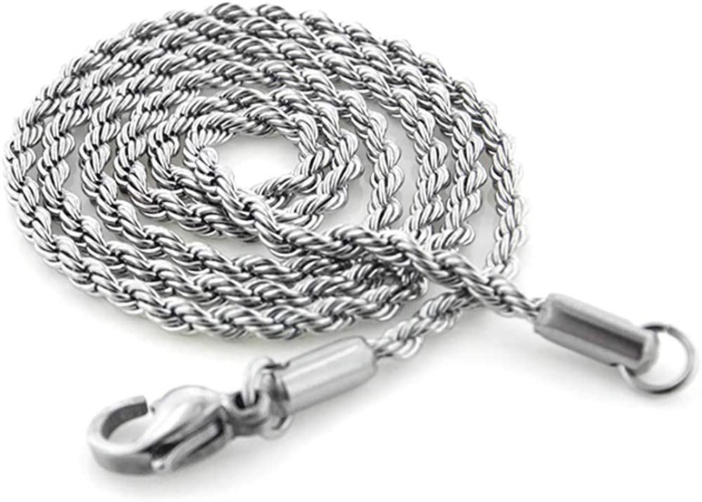 Silver Insanity 2mm Stainless Steel Rope Chain Necklace 18