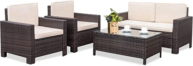 FDW Patio Furniture Sets Outdoor Wicker Sofa 4 Piece Patio Set Rattan Conversation Sets for Balcony Poolside Backyard Porch Poolside Garden Sofa Furniture with Coffee Table,Brown
