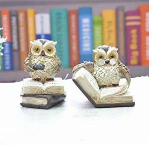 Gishima 2pcs Owl Figurines Owl Reading Book Statue Animal Sculptures Collection Figurines for Home Decor & Gift