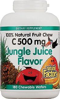C 500mg Natural Fruit Chews-Jungle Juice - Natural Factors - 180 - Chewable