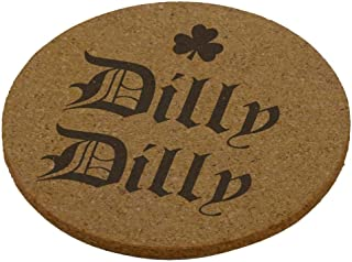 Old Glory St. Patrick's Day Dilly Dilly Shamrock Round Cork Coaster (Set of 4) Brown Standard One Size