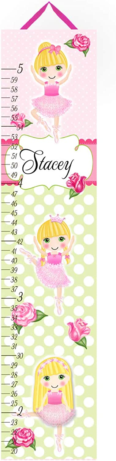 Canvas GROWTH CHART Shabby Ballerina pink Green Pink Dots Blonde Hair Girl Bedroom Baby Nursery Art Personalized Growth GC0047