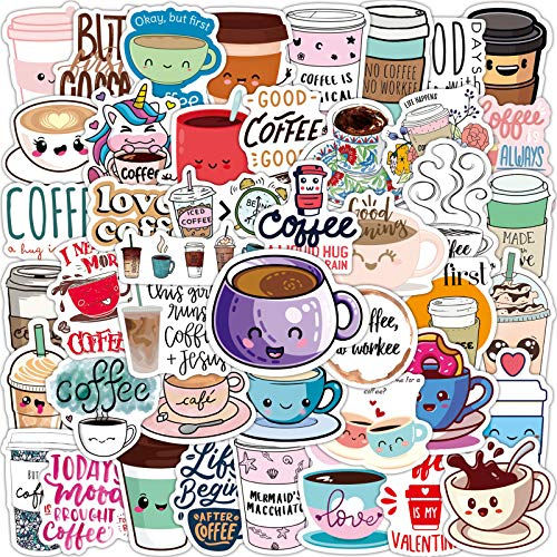 Coffee Stickers 50 pc Kawaii Love Coffee Time Stickers for Girls Teens Waterproof Vinyl Stickers for Water Bottles Laptop and Scrapbooks