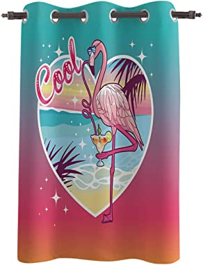 Vandarllin Decorative Window Curtain, Summer Cool Flamingo Polyester Fabric Darkening Drapes Grommet Treatments for Home Living Bedroom Kitchen, 52x45in Seaside Love