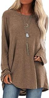 Women Casual Crewneck Long Sleeves Solid Pullover Sweatshirt Tops