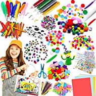 🎀【Massive Kids Crafts Set Material】1400+ piece craft kit materials includes everything you need to build creativity-30 metallic Pom Poms,60 Standard Pom Poms,20 brightest Made Pipe Cleaners,64 EVA Foam Flowers,362 Diamond Stickers,5 Construction Pape...