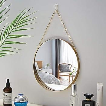 Specchio Rotondo a Parete Diametro 40//50//60 70cm Frameless Decorativo conciso per Bagno Specchio Specchio di vestizione in Vetro con fissaggi sospesi