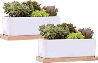 Succulent Pots,Brajttt Ceramic Flower Pots Plant Pot with Bamboo Tray, Planters with Hole and Drinage(2 Pack)