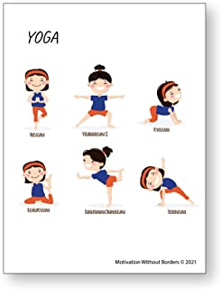 """Yoga Poster for Girls   13""""x18"""" Laminated   Perfect for Classroom or Home"""