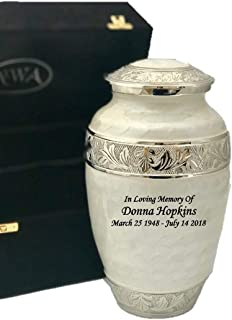 Custom Adult Funeral Cremation Urn, Ash Urns with Personalization and Velvet Box