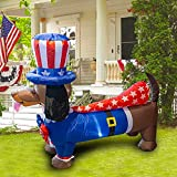 Dazzle Bright 5FT Inflatable Independence Day Decoration, Uncle Sam Puppy Dog for Indoor Outdoor Lawn Yard, Blow Up 4th of July Patriotic Memorial Decor