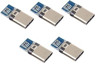 5 Stück DIY 24 Pin USB Typ C USB C Stecker OTG Host Type 5.1k Widerstand mit schwarzem Gehäuse Abdeckung