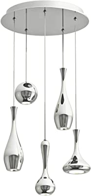 Modern Forms PD-ACID05R-PN Contemporary Modern LED Chandelier from Acid Collection in Polished Nickel Finish, 17.00 inches, Color