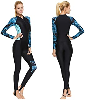Full Body Scuba Rash Guard Lycra Dive Skin UV Swimwear Sport Skins for Men Women, Long Sleeve One Piece Front Zipper Diving Wetsuit for Surfing Swimming Snorkeling Canoeing