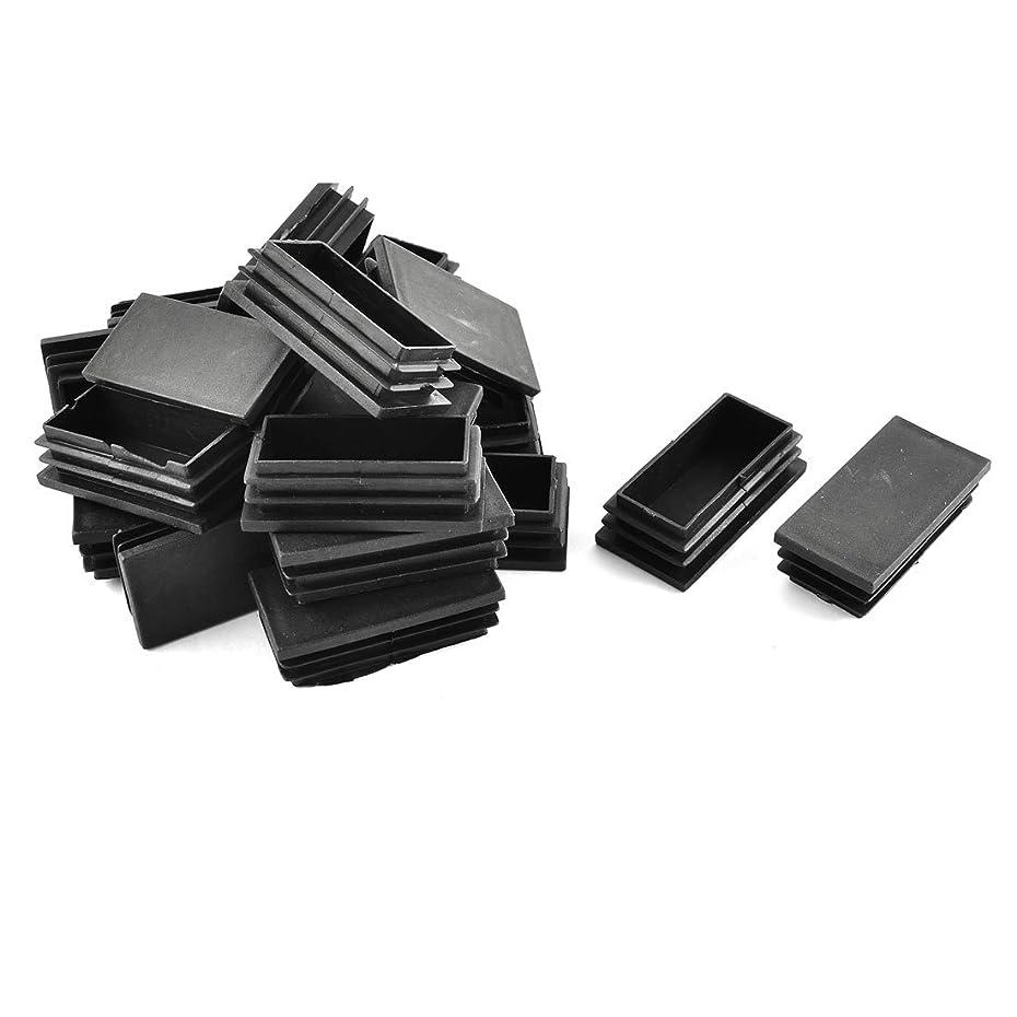 七時半意欲入り口uxcell パイプキャップ プラスチック製 長方形 キャップ 椅子 ブラック 30mm x 60mm 20個入り