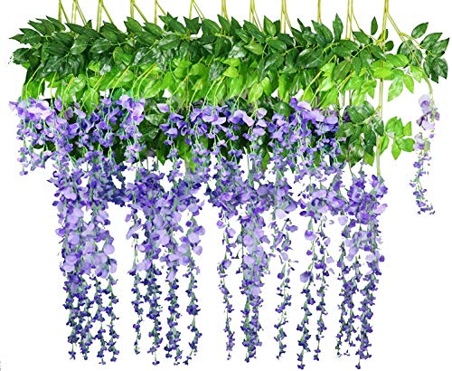 LNHOMY 12 Pack 3.6 FT Artificial Fake Hanging Wisteria Vine Ratta Silk Flowers String for Home Wedding Party Decor (PURPLE 1)