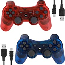 Best Controllers for PS3 Playstation 3 Dual Shock, Wireless Bluetooth Remote Joystick Gamepad for Six-axis with Charging Cable (Pack of 2, ClearBlue and ClearRed) Review