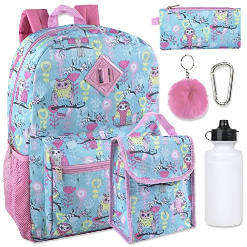 Girl's 6 in 1 Backpack Set With Lunch Bag, Pencil Case, Bottle, Keychain, Clip (Owl)