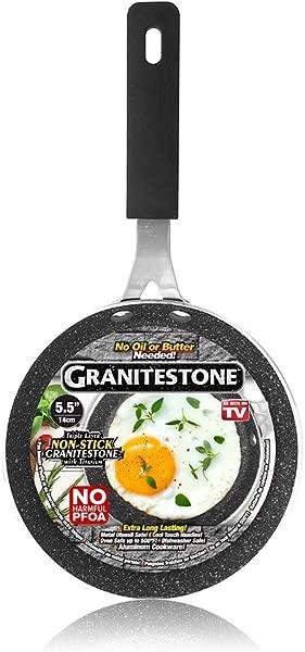 Granitestone 蛋锅 5 英寸不粘新奇大小的蛋锅,带橡胶耐热手柄,如电视所示