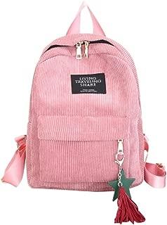 Women Fashion School Bags Mini Thicken Corduroy Backpacks (Gray)