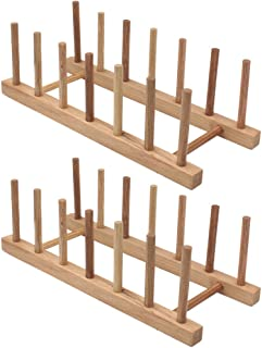 Z Zicome Set of 2 Bamboo Wooden Dish Rack Plate Rack Stand Pot Lid Holder Kitchen Cabinet Organizer