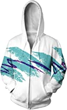 Uideazone Unisex 3D Digital All Over Print Zip Up Hoodie Casual Pullover Hooded Sweashirt Jacket Pockets