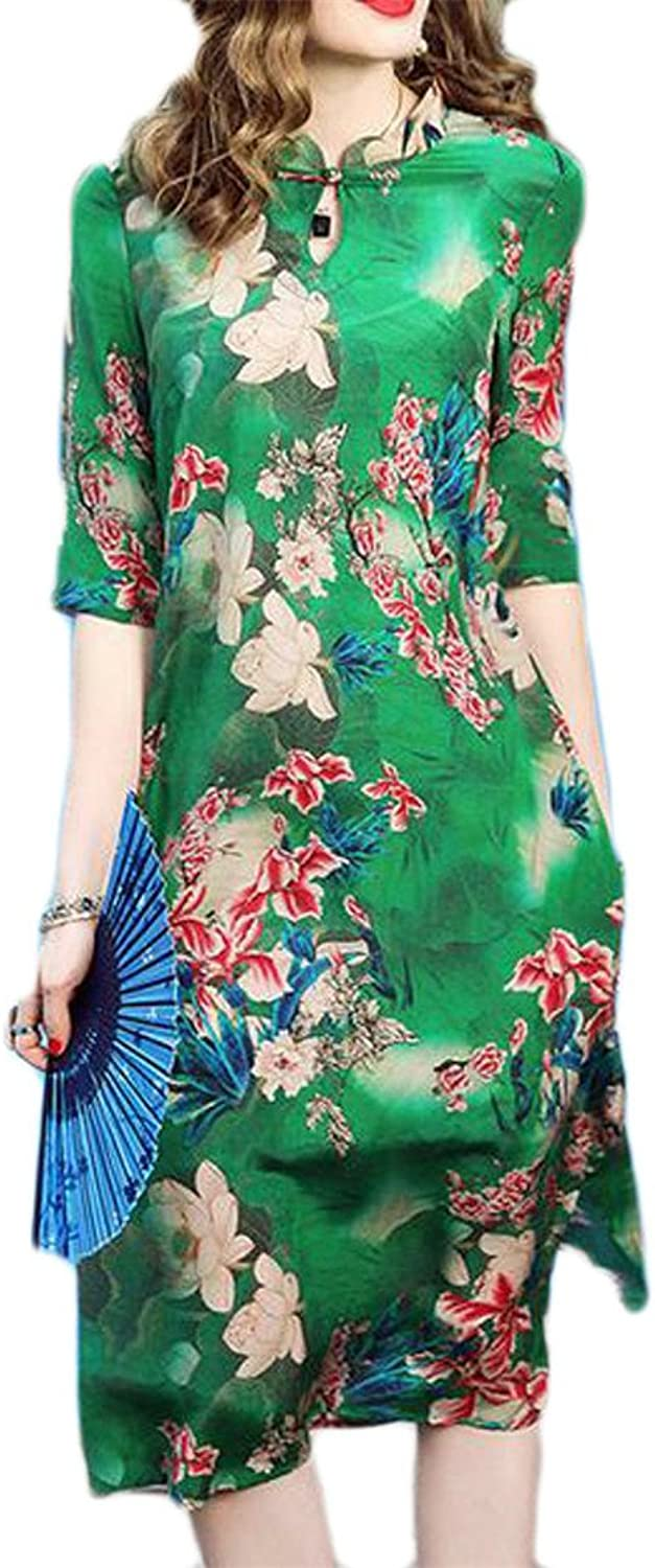 Blyent Women Ethnic Style Loose Printed Swing Satin 3 4 Sleeve Qipao Dress