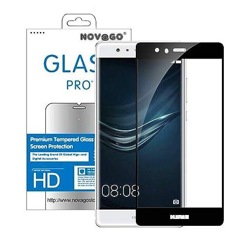 Novago Compatible Huawei P9 Film en Verre trempé (0,26 mm) Protection d'écran résistant Anti Explosion Couvre la totalité de l'écran-Noir
