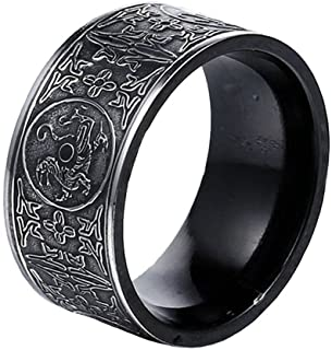 SINLEO Men's Stainless Steel Chinese Ancient 4 Guardian Beasts Ring Dragon, White Tiger, Suzaku, Basalt Carved