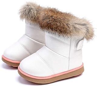 a1fe3b33a6fe4 Fille Enfant Bottes d hiver Chaude Chaussure de Neige Martin Fourrée épais  Noir Blanc Mi