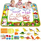 SmilePowo Extra Large Aqua Magic Water Drawing Mat Children Coloring Mat Educational Toys Gift for Boys Girls Toddlers Age 2 3 4 5 6 7 8 9 10 Travel Aqua Magic Doodle Pad + 10 Dinosaur Toy Sets